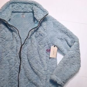 NWT St John's Bay PS Fuzzy front zip jacket